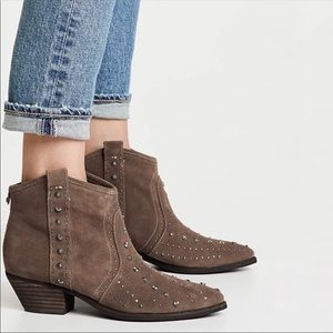 New Sam Edelman Brian Suede Studded Western Boots
